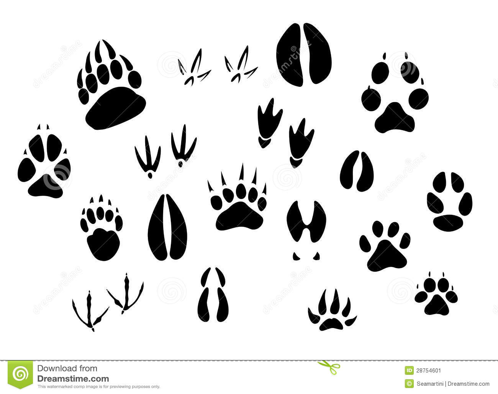 Animal Footprints Silhouettes Stock Vector