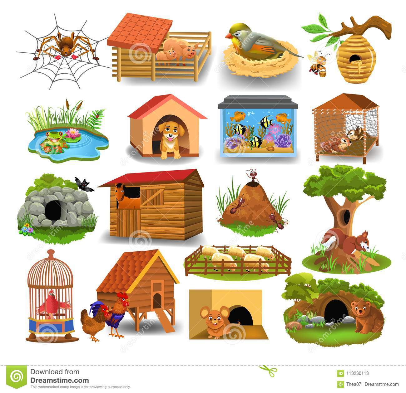 Animal Homes Isolated On A White Background Stock Vector