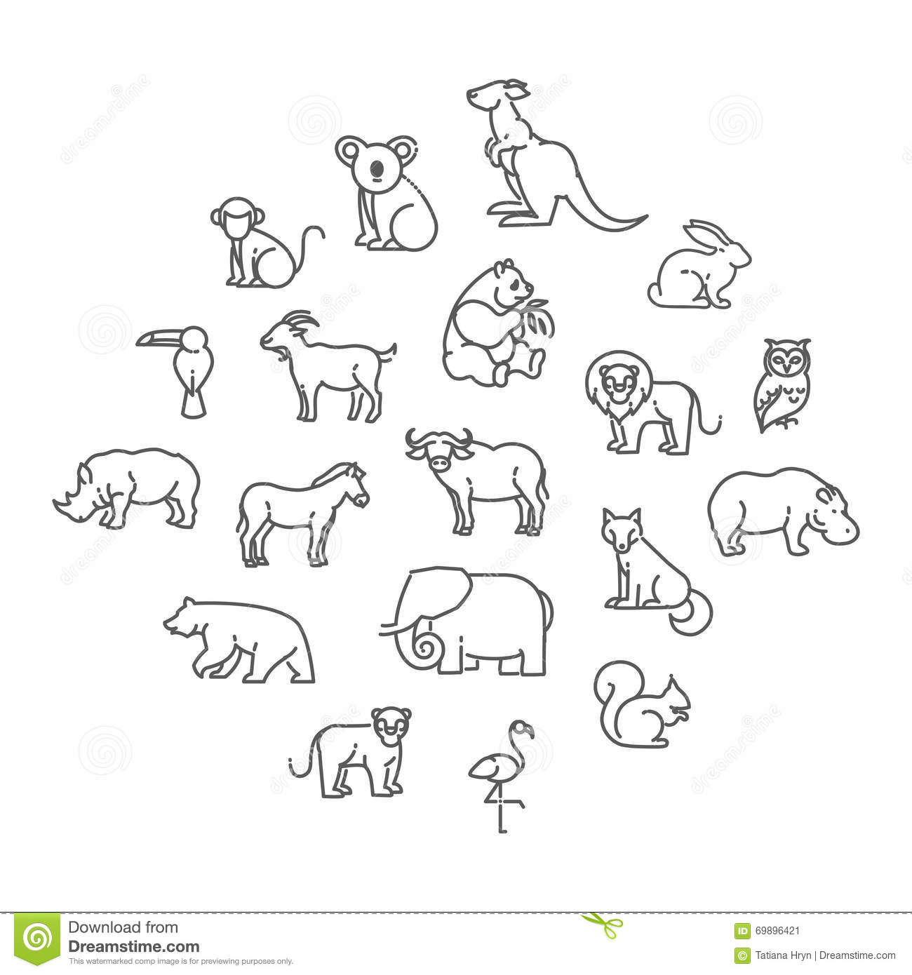 Animal Icons Zoo Icons Stock Vector Illustration Of