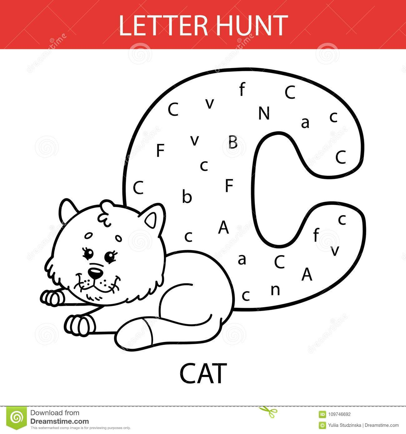 Animal Letter Hunt Cat Stock Vector Illustration Of