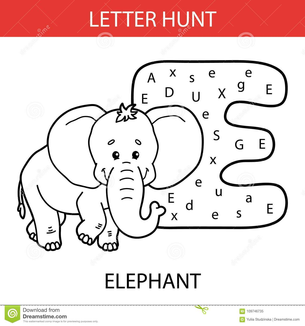 Animal Letter Hunt Elephant Stock Vector