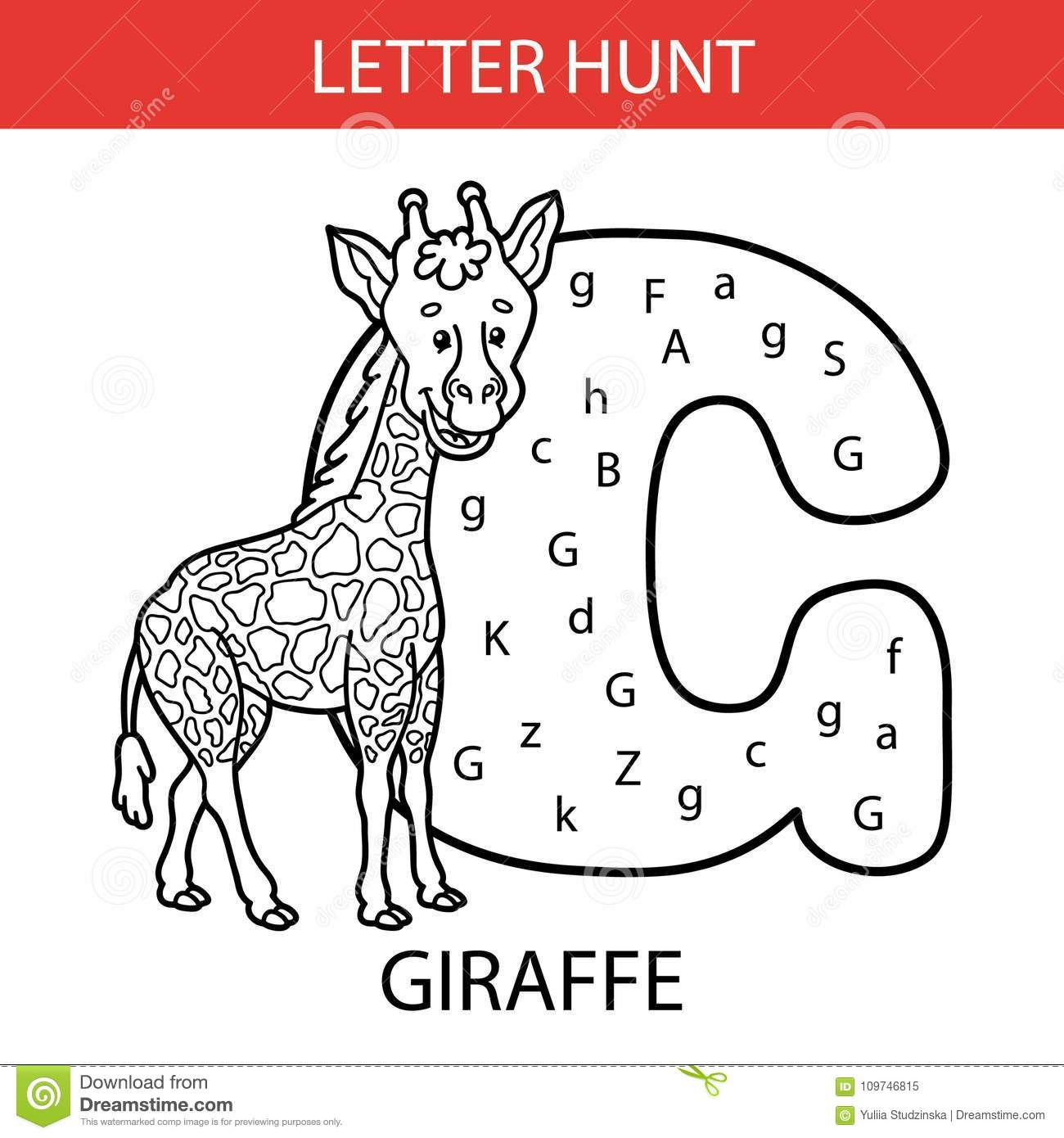 Animal Letter Hunt Giraffe Stock Vector Illustration Of