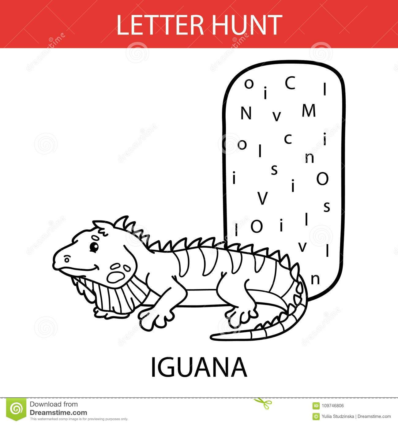 Animal Letter Hunt Iguana Stock Vector Illustration Of