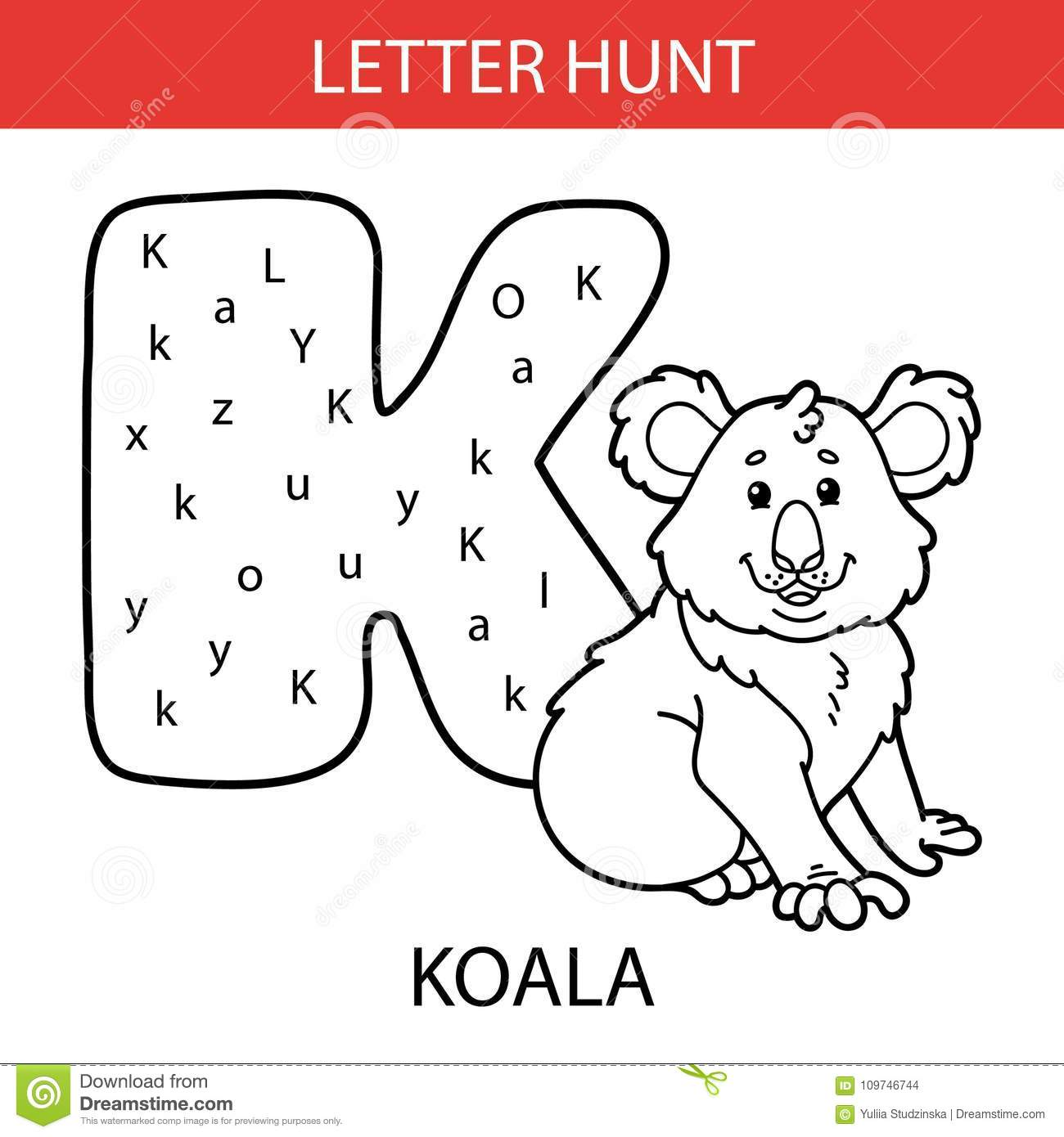 Animal Letter Hunt Koala Stock Vector Illustration Of