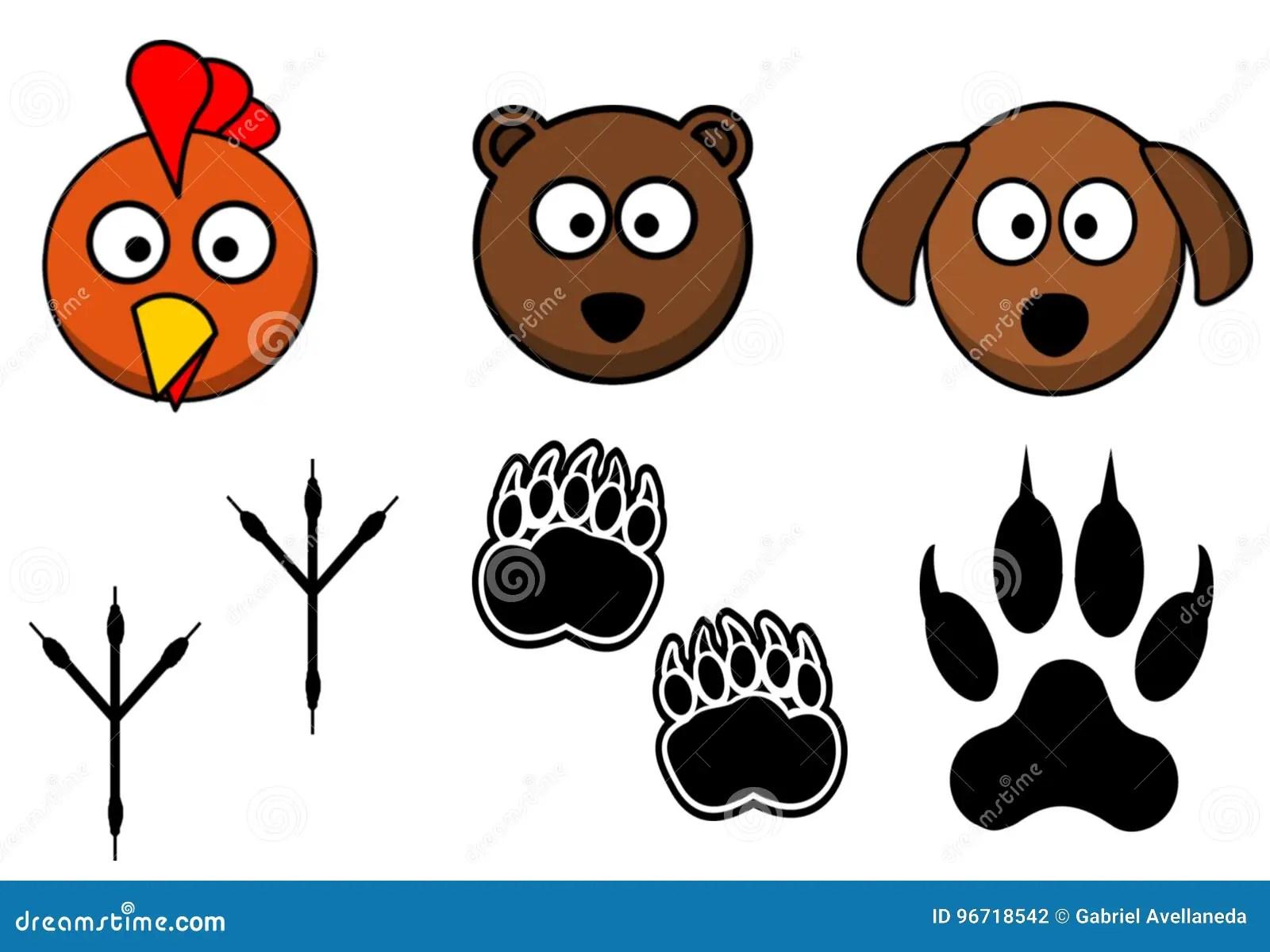 Animales Ligados A Sus Huellas Stock De Ilustracion