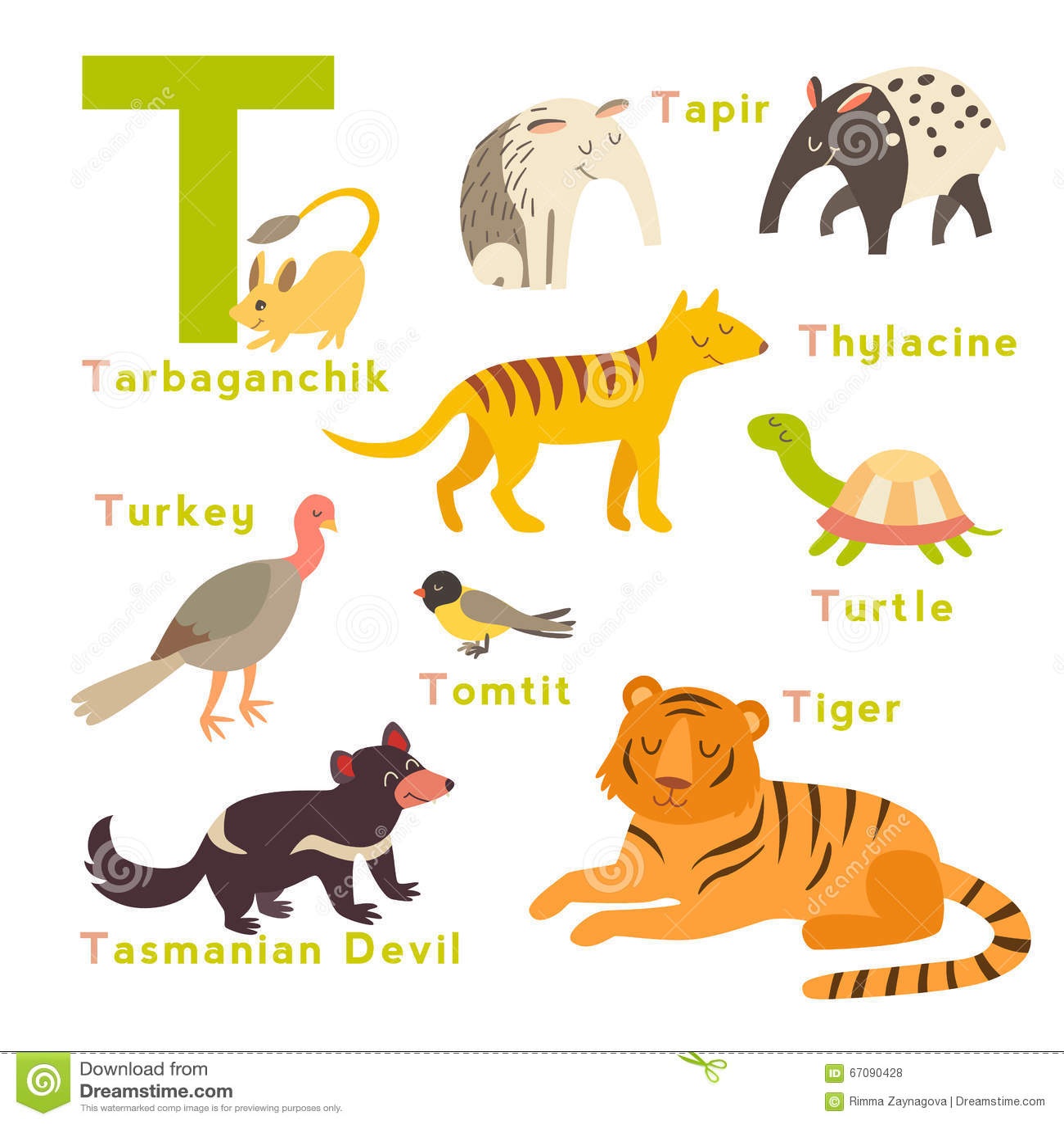 Animali Della Lettera Di T Messi Alfabeto Inglese