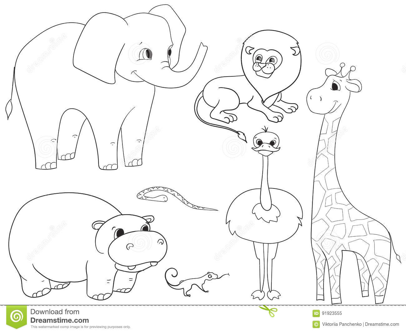 Animals Of Africa Object Coloring Vector For Adults Stock