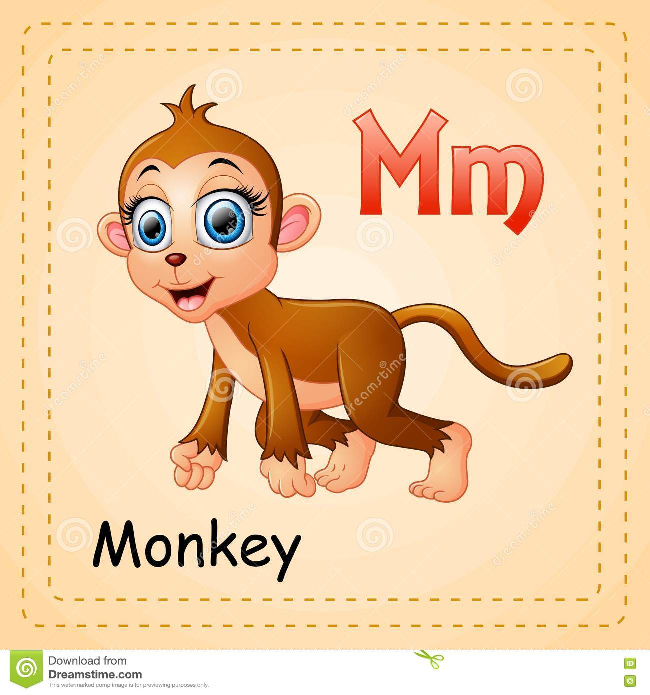 Animals Alphabet M Is For Monkey Stock Vector