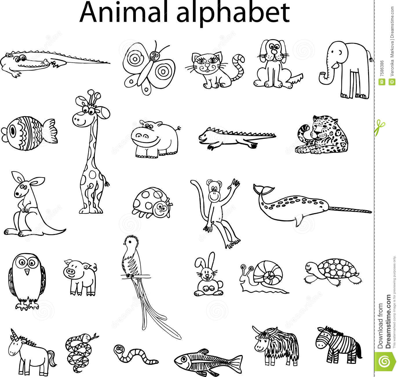 Animals From Animal Alphabet Stock Vector