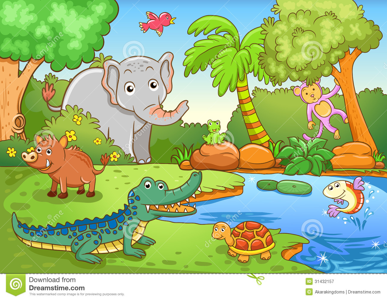 Animals In Forest Stock Vector Illustration Of Fish