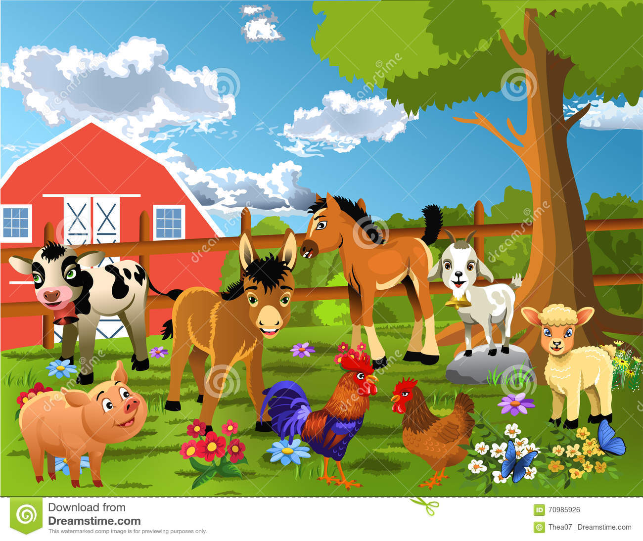 Animals Living At The Farm Vector Illustration