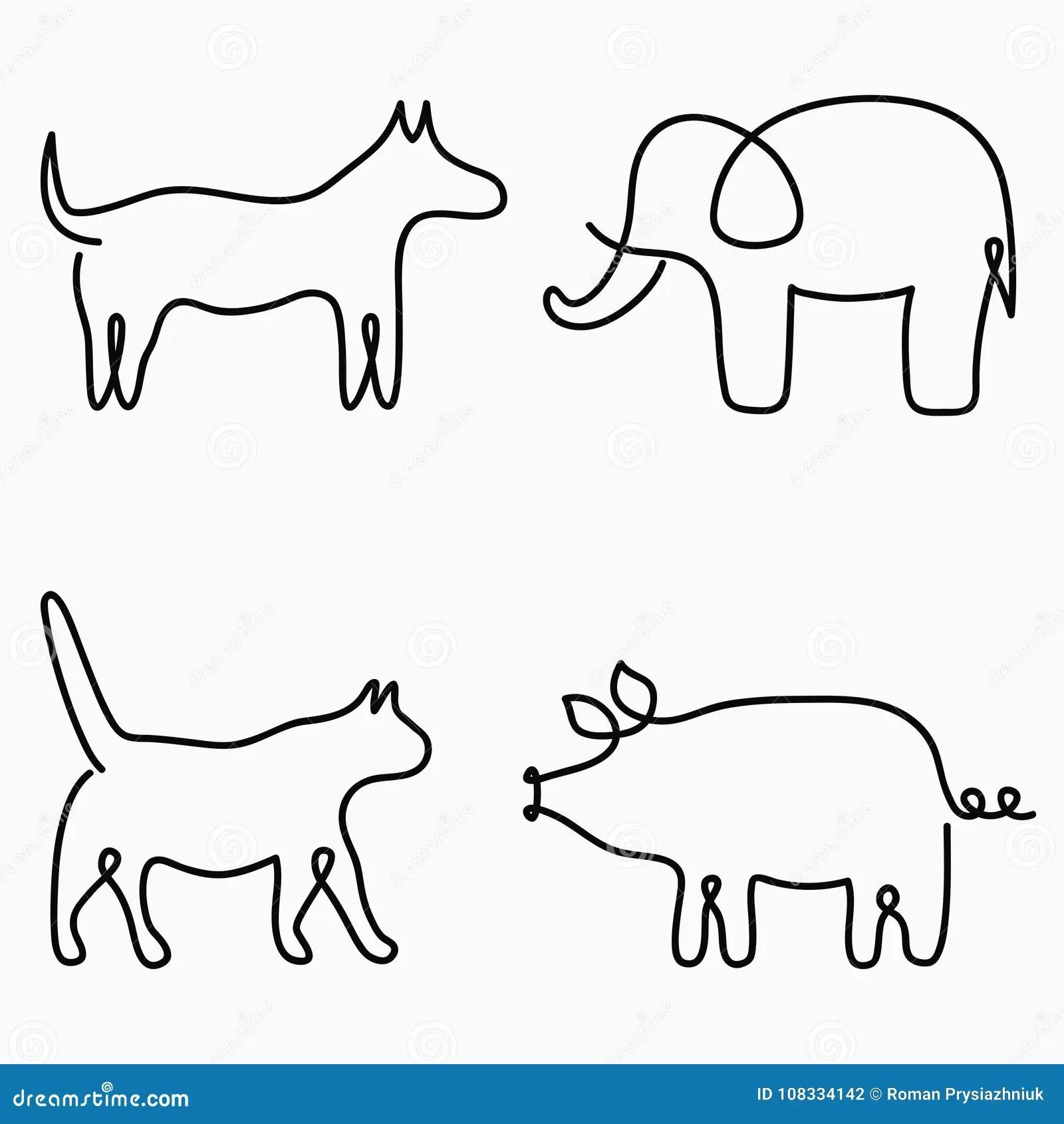 Vector Sketch Of Elegant Cat Vector Illustration
