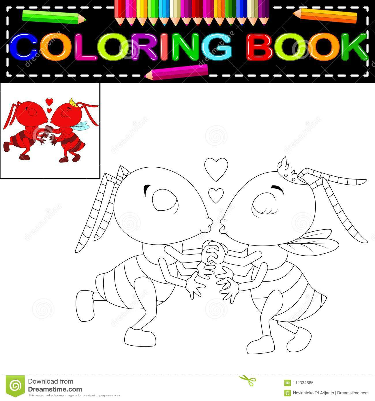 Ant Coloring Book Stock Vector Illustration Of Comic