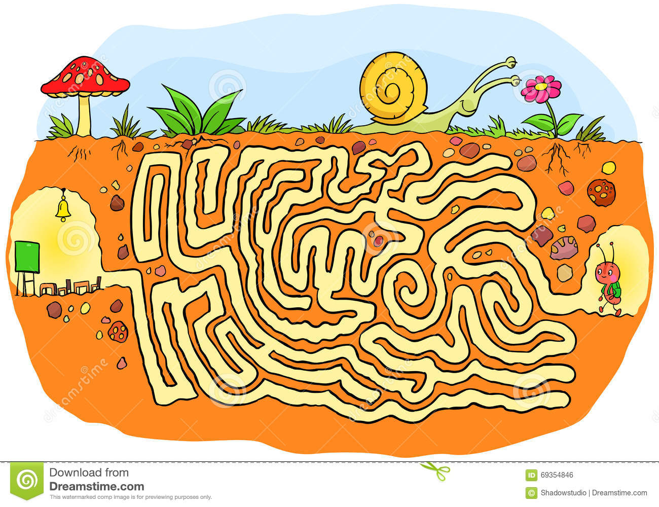 Maze Game Of An Ant Is Going To School Maze Puzzle For