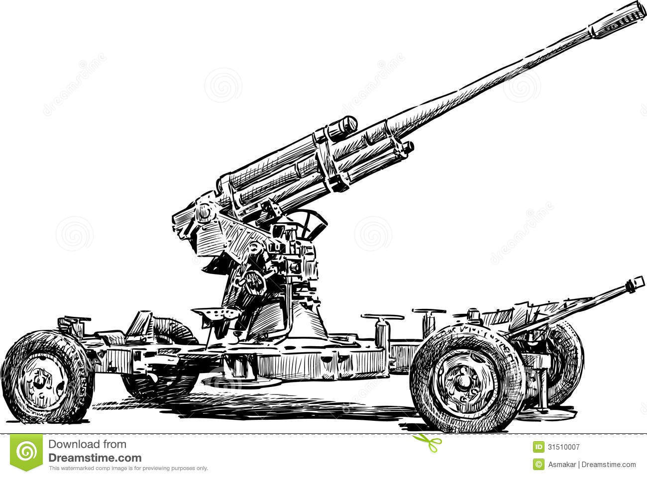 Anti Aircraft Gun Royalty Free Stock Photography