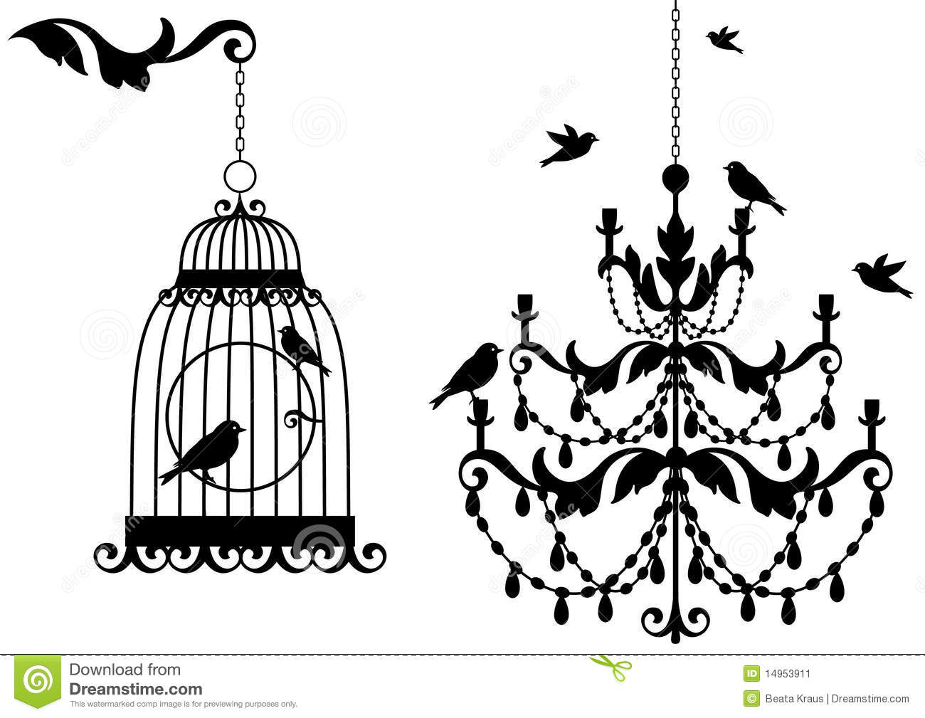 Antique Birdcage And Chandelier Stock Image