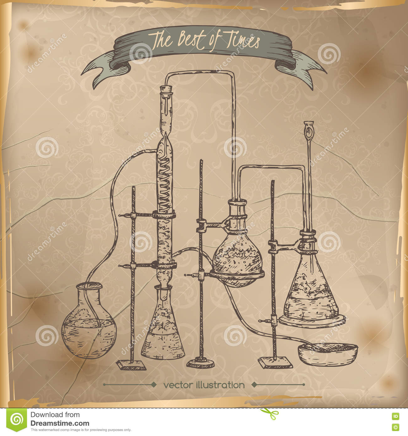 Antique Chemistry Lab Equipment Sketch Placed On Old Paper