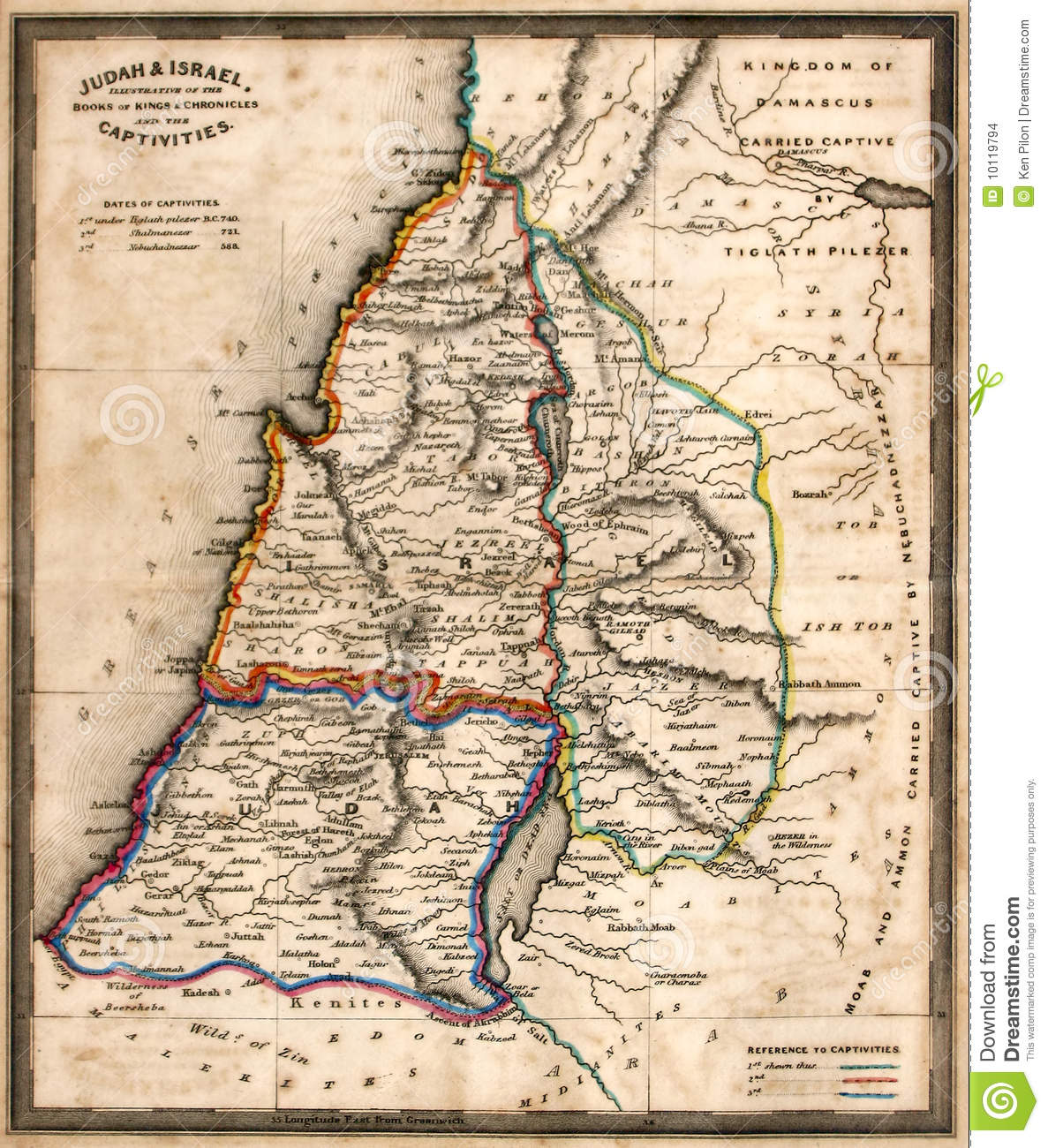 Antique Map Of Old Israel Stock Photo Image Of Maps