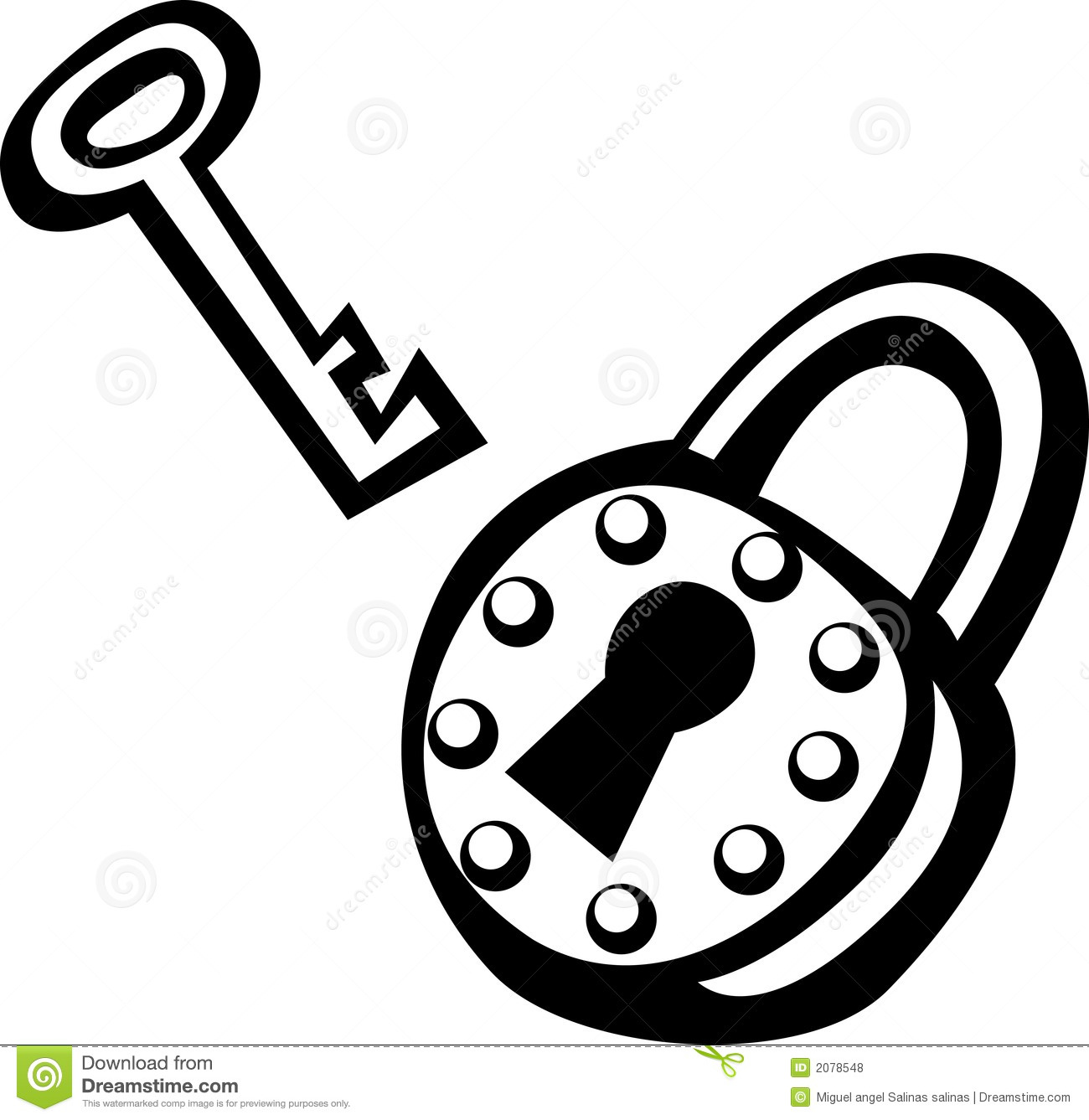 Antique Padlock And Key Vector Illustration Royalty Free