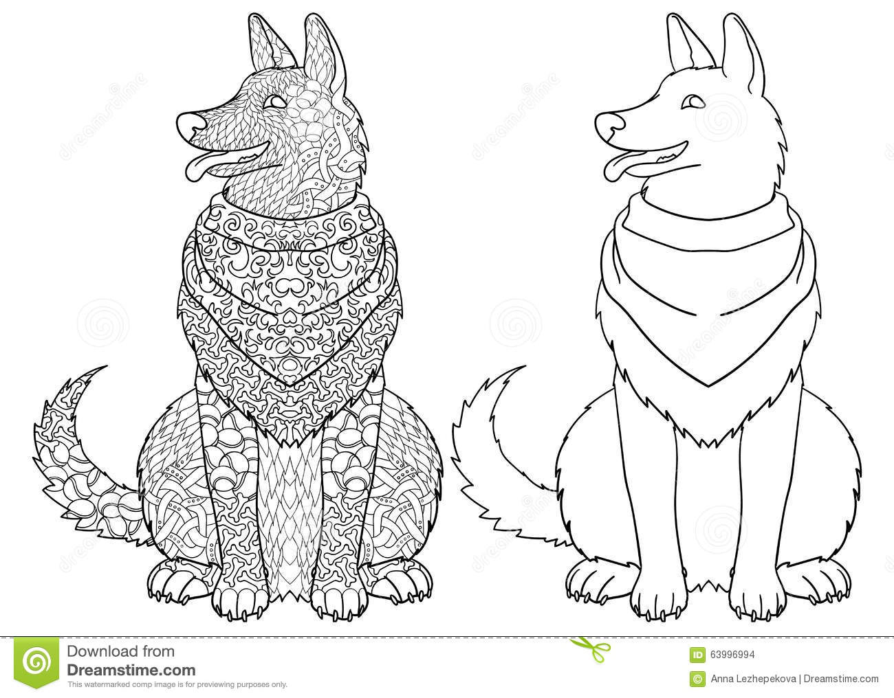 Antistress Coloring Page With Dog Stock Vector