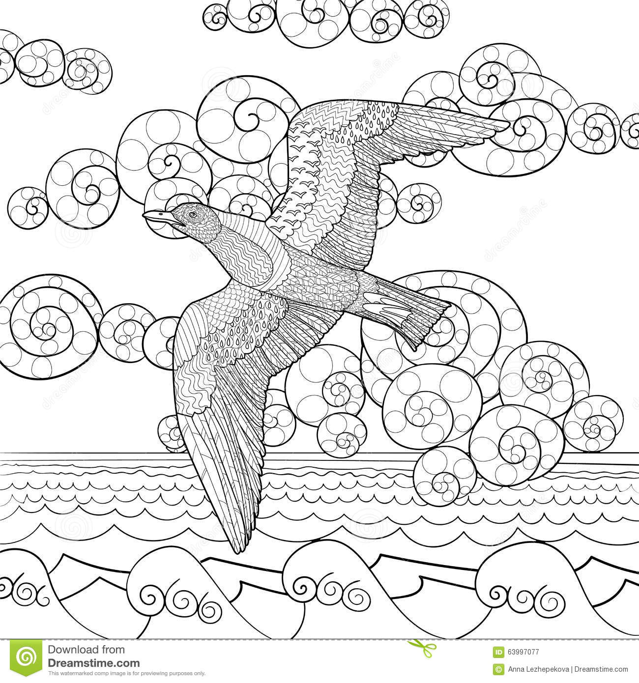 Antistress Coloring Page With Seagull Stock Vector