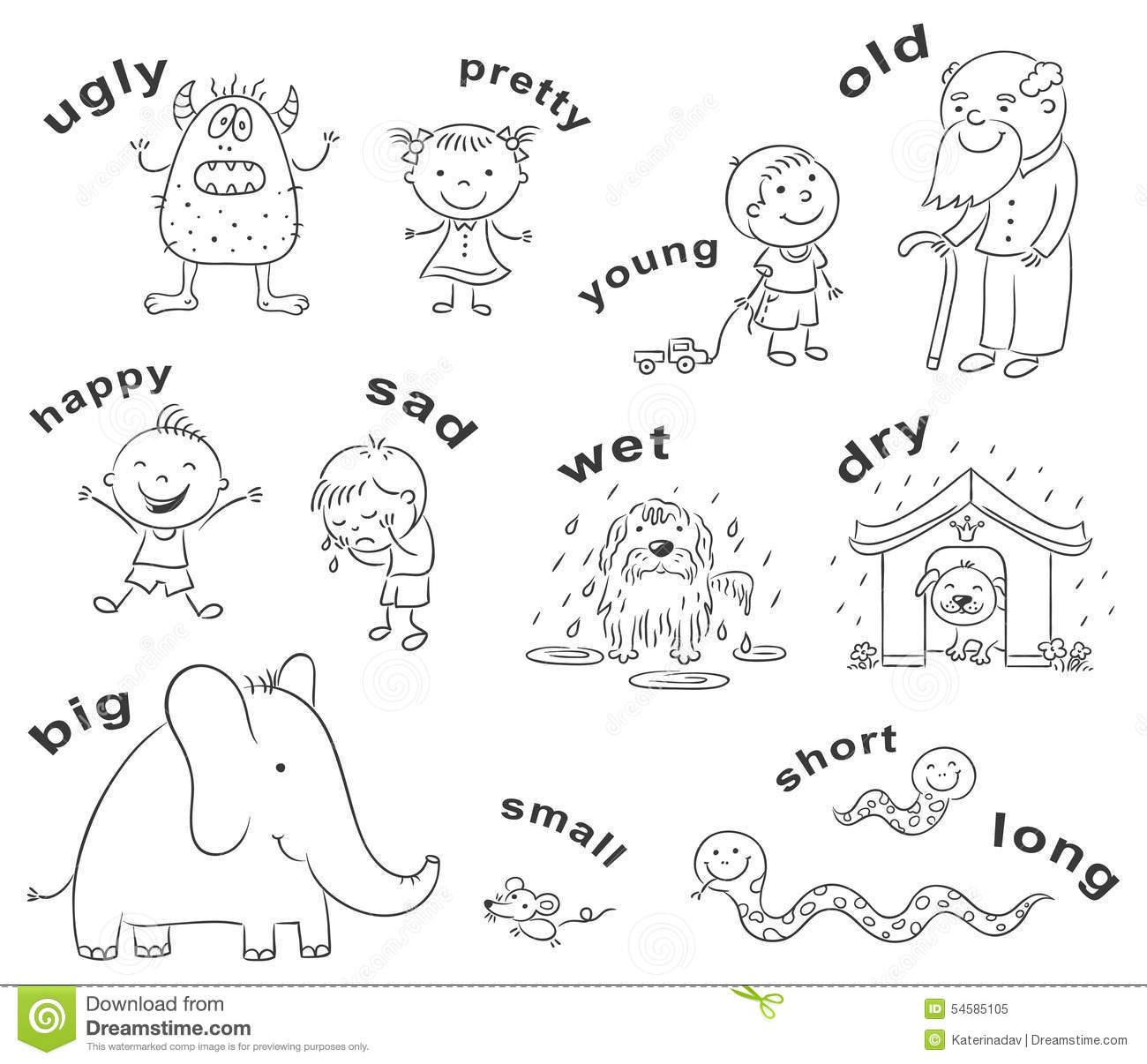 Antonyms Cartoons Black And White Stock Vector