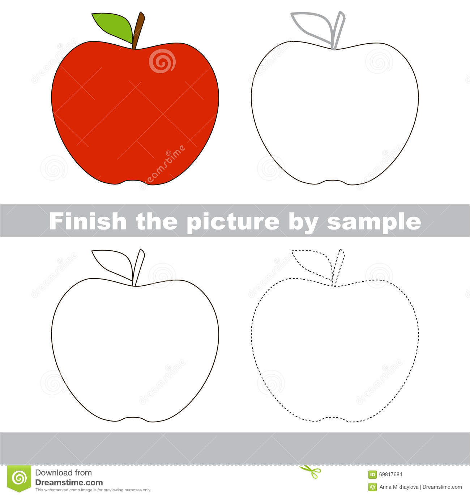 Apple Drawing Worksheet Stock Vector Illustration Of