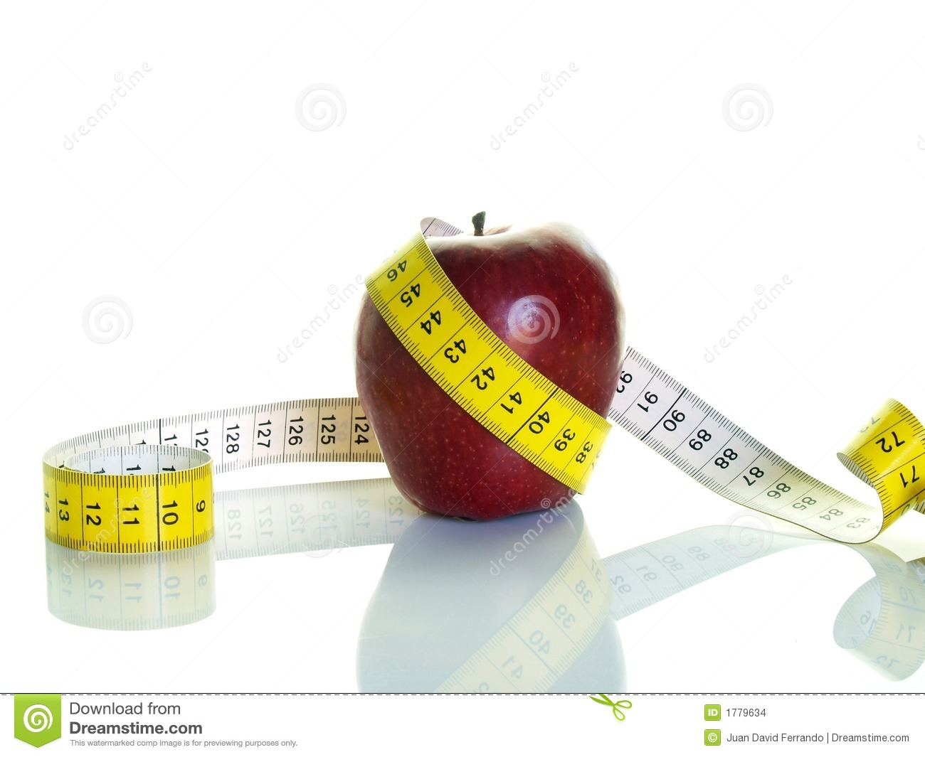 Apple And Measuring Tape Stock Photo Image Of Meter