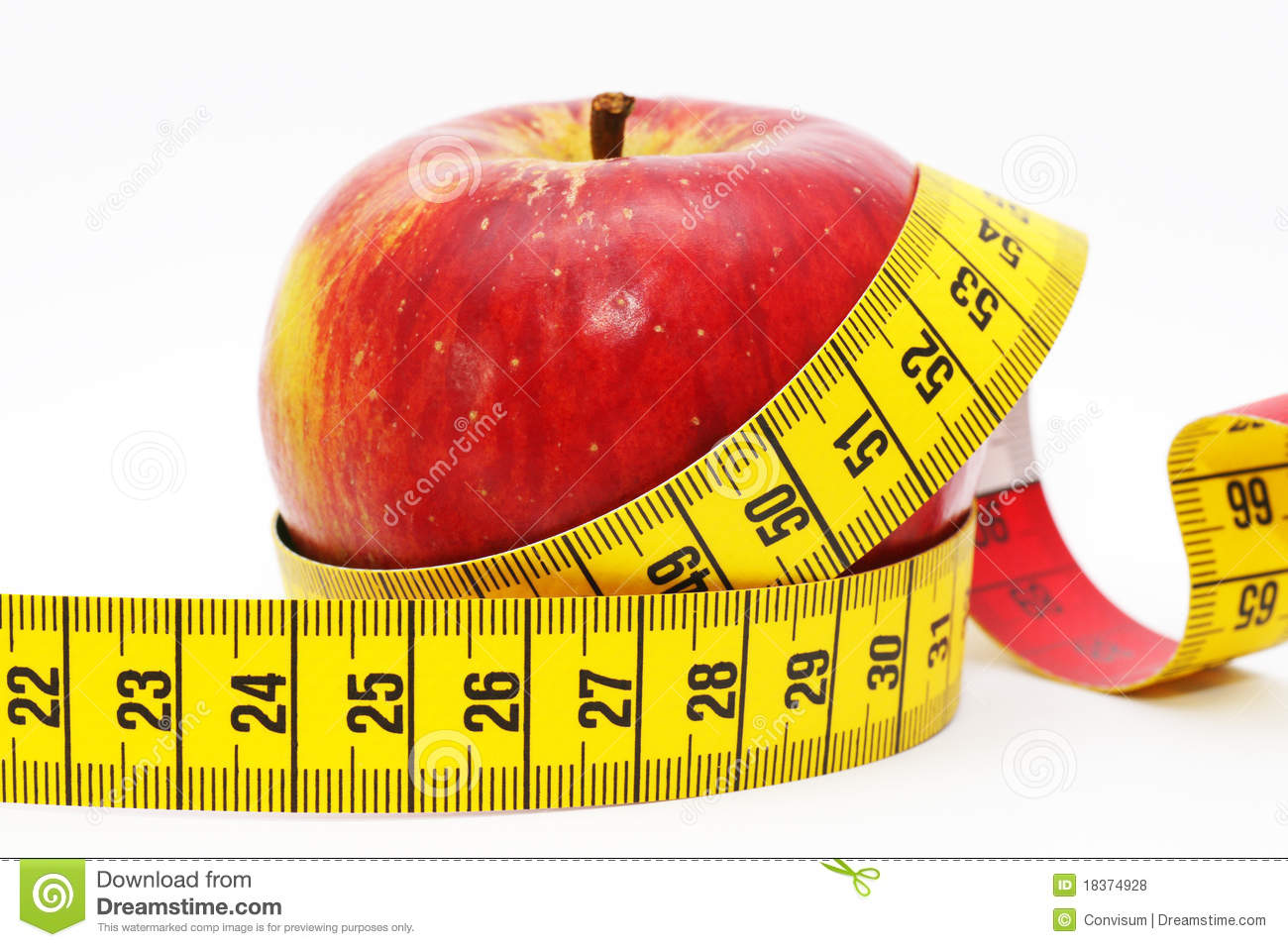 Apple With Measuring Tape Stock Photo Image Of Weight