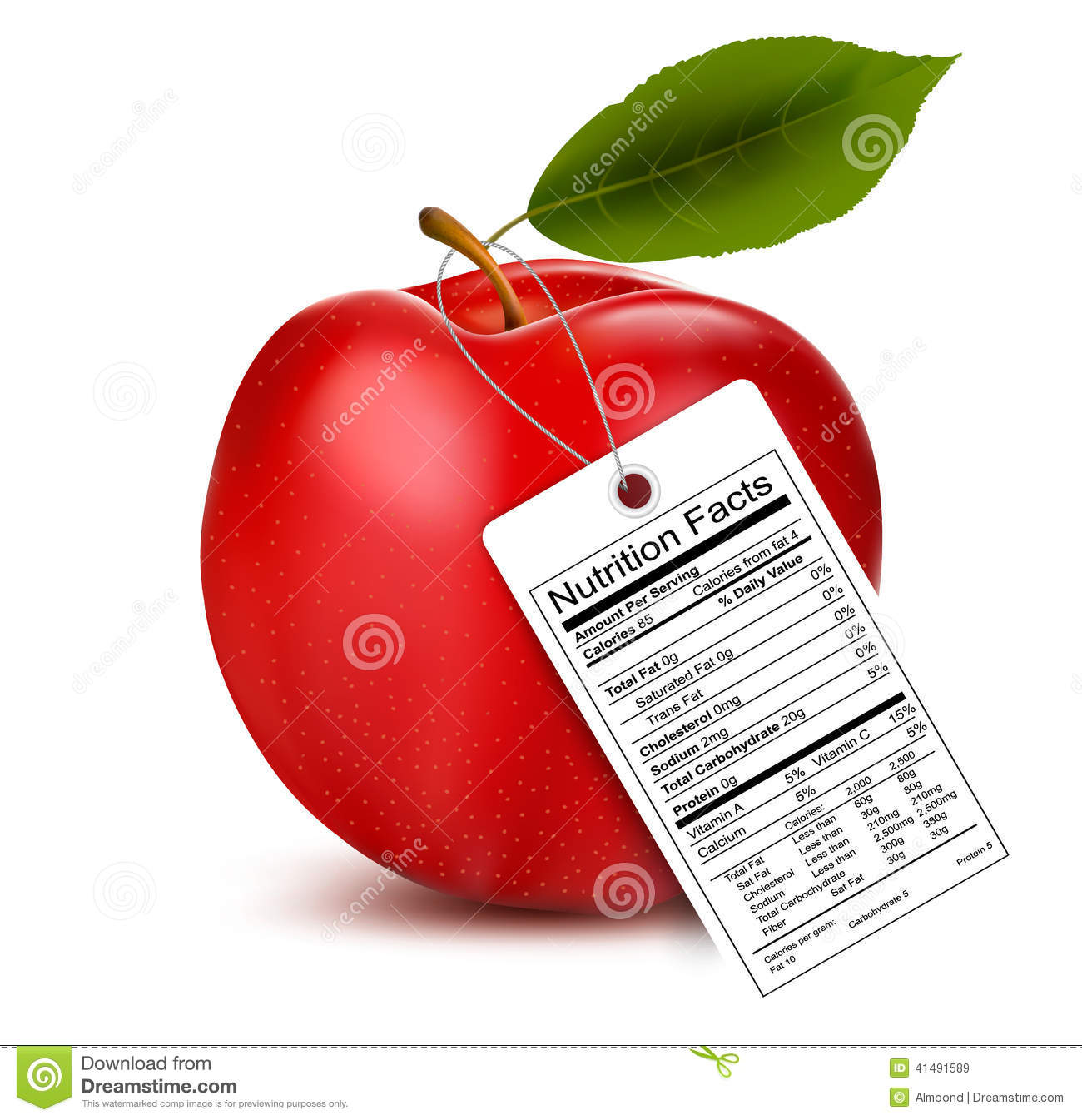 An Apple With A Nutrition Facts Label Stock Vector