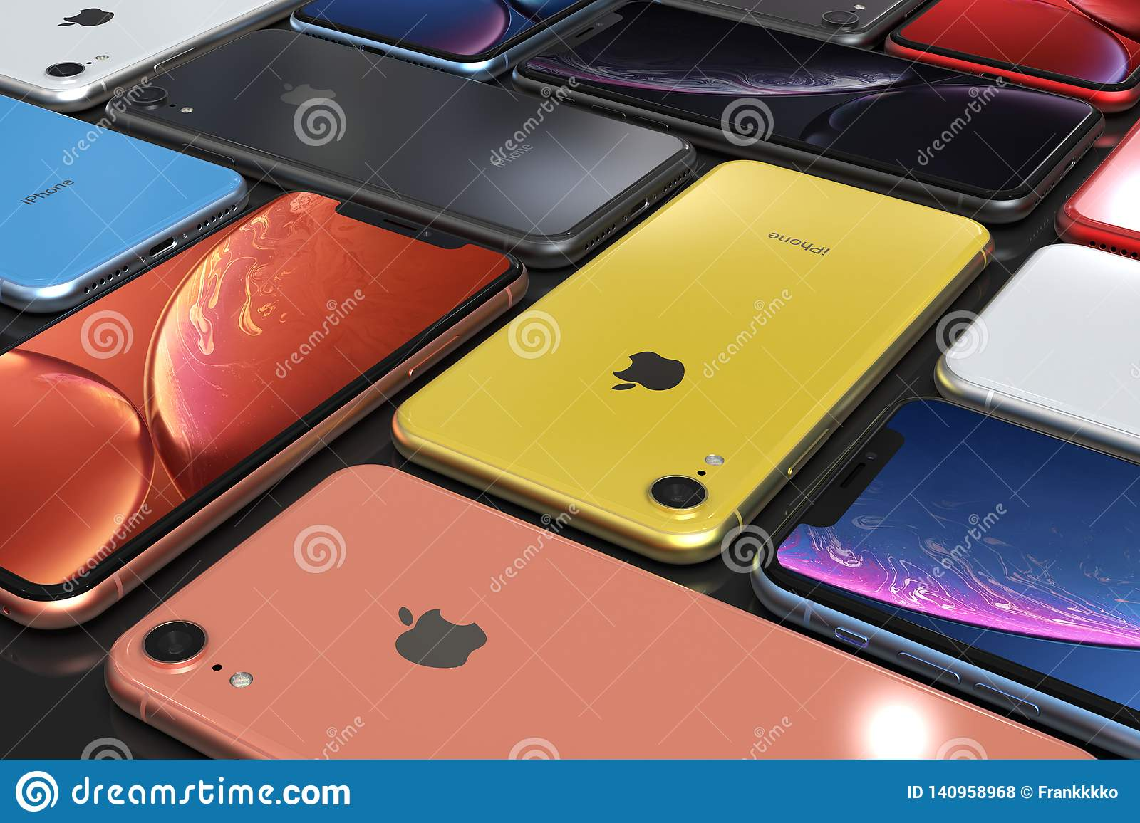 Apple Iphone Xr All Colours Mosaic Arrangement Original Wallpaper Editorial Stock Photo Illustration Of Connection Grid 140958968