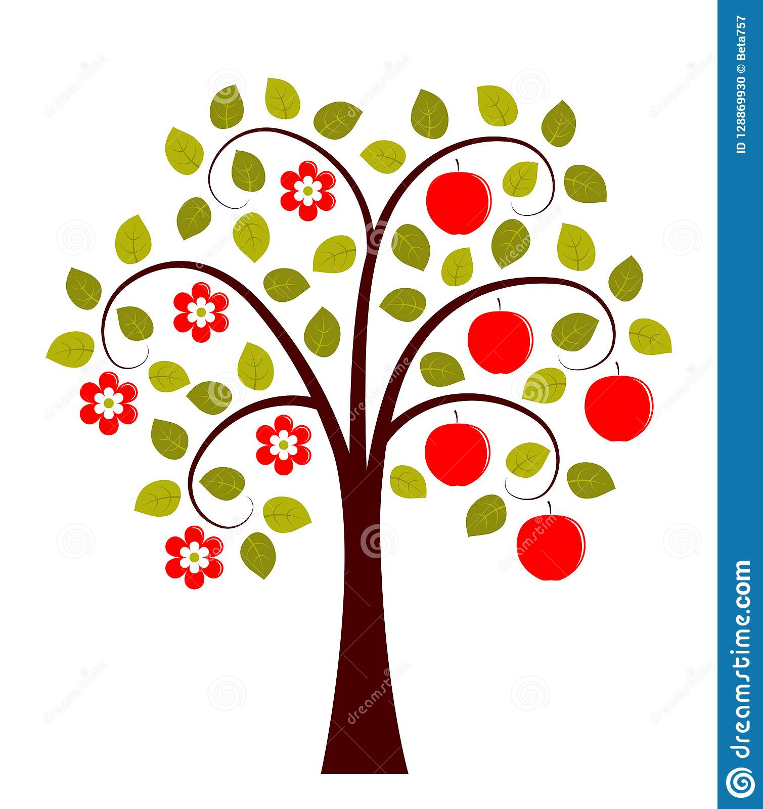 Apple Tree In Two Seasons Stock Vector Illustration Of