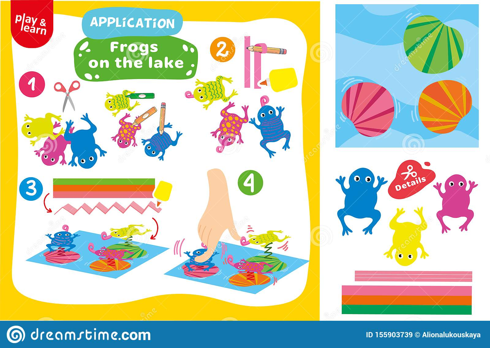 Application Frogs On Lake Game Printable Worksheet Stock