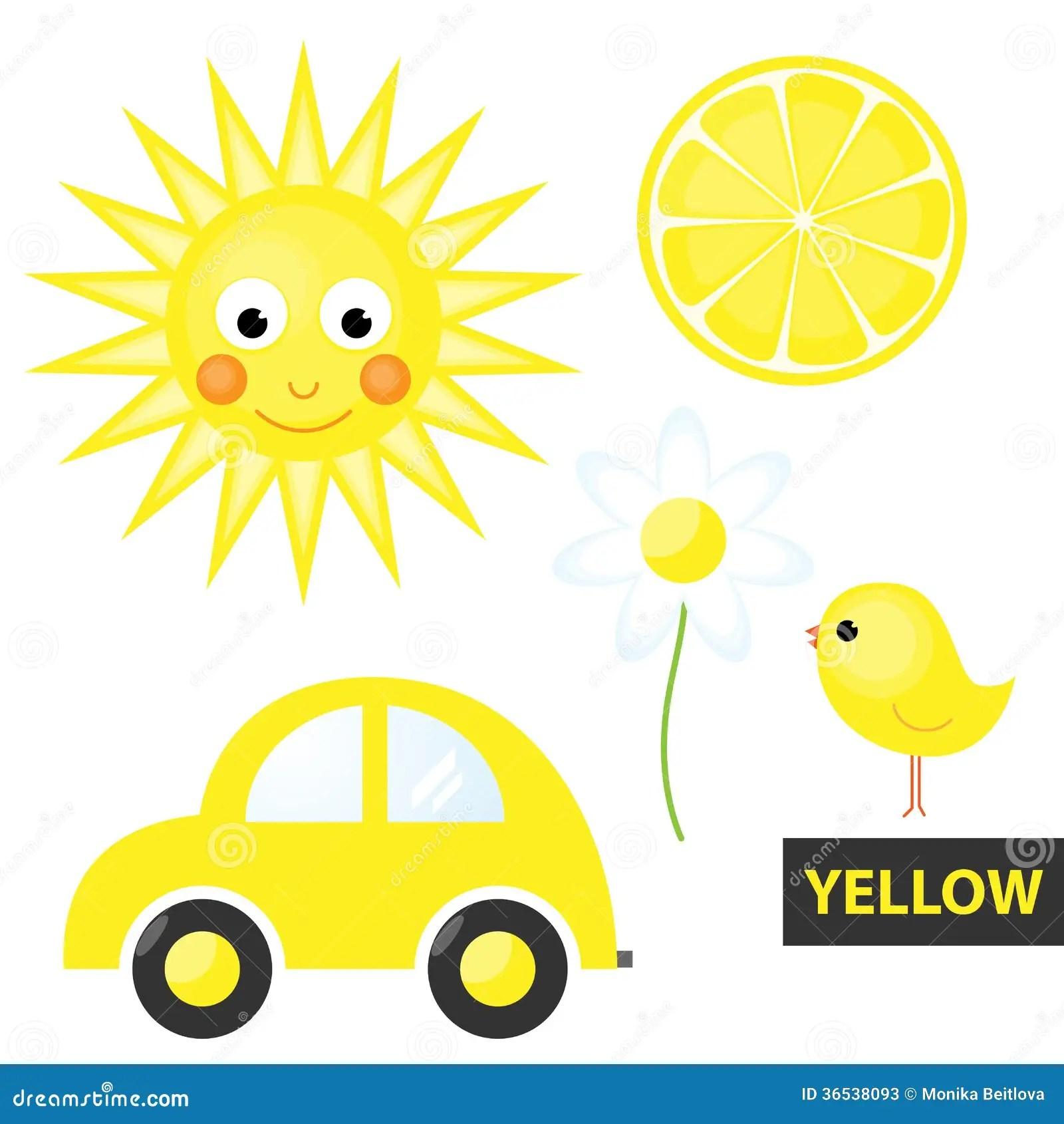 Apren Ndo Los Colores Amarillo Ilustracion Del Vector
