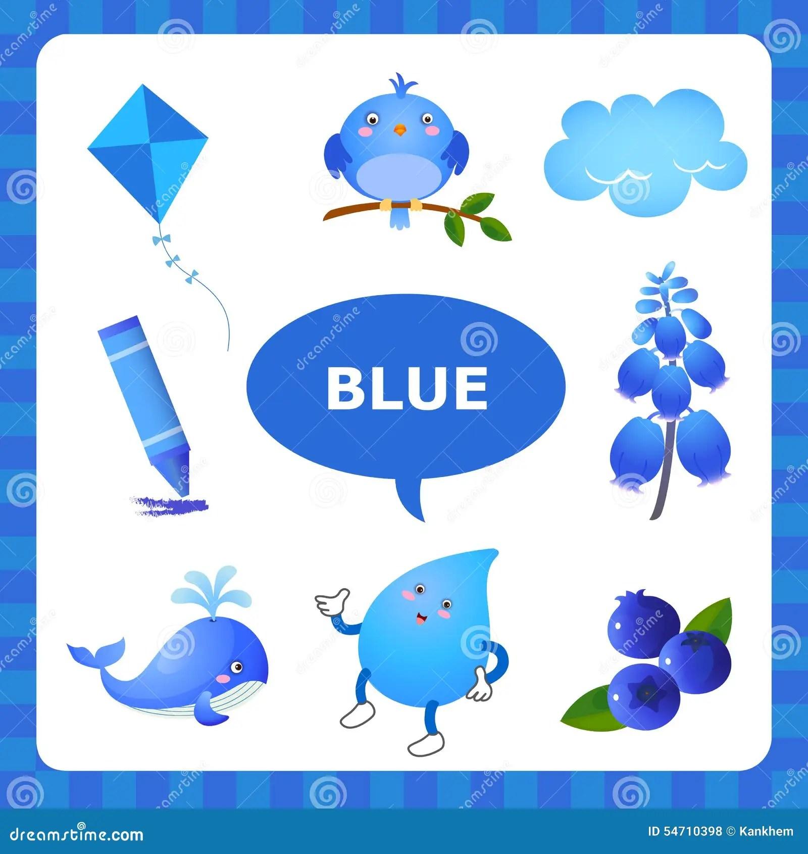 Aprendizaje De Color Azul Ilustracion Del Vector