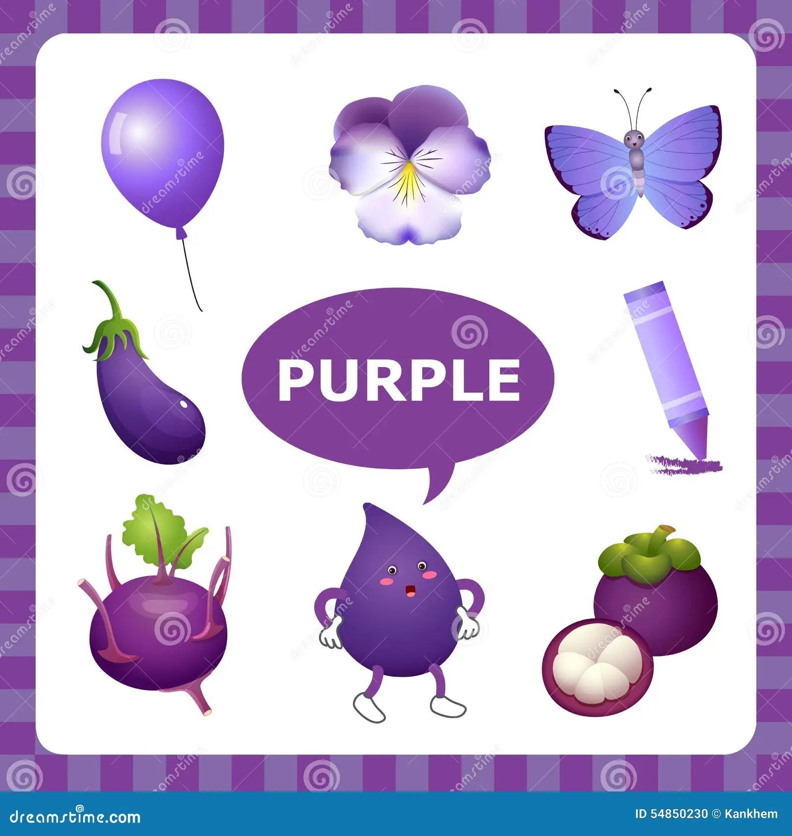 Aprendizaje De Color Purpura Ilustracion Del Vector
