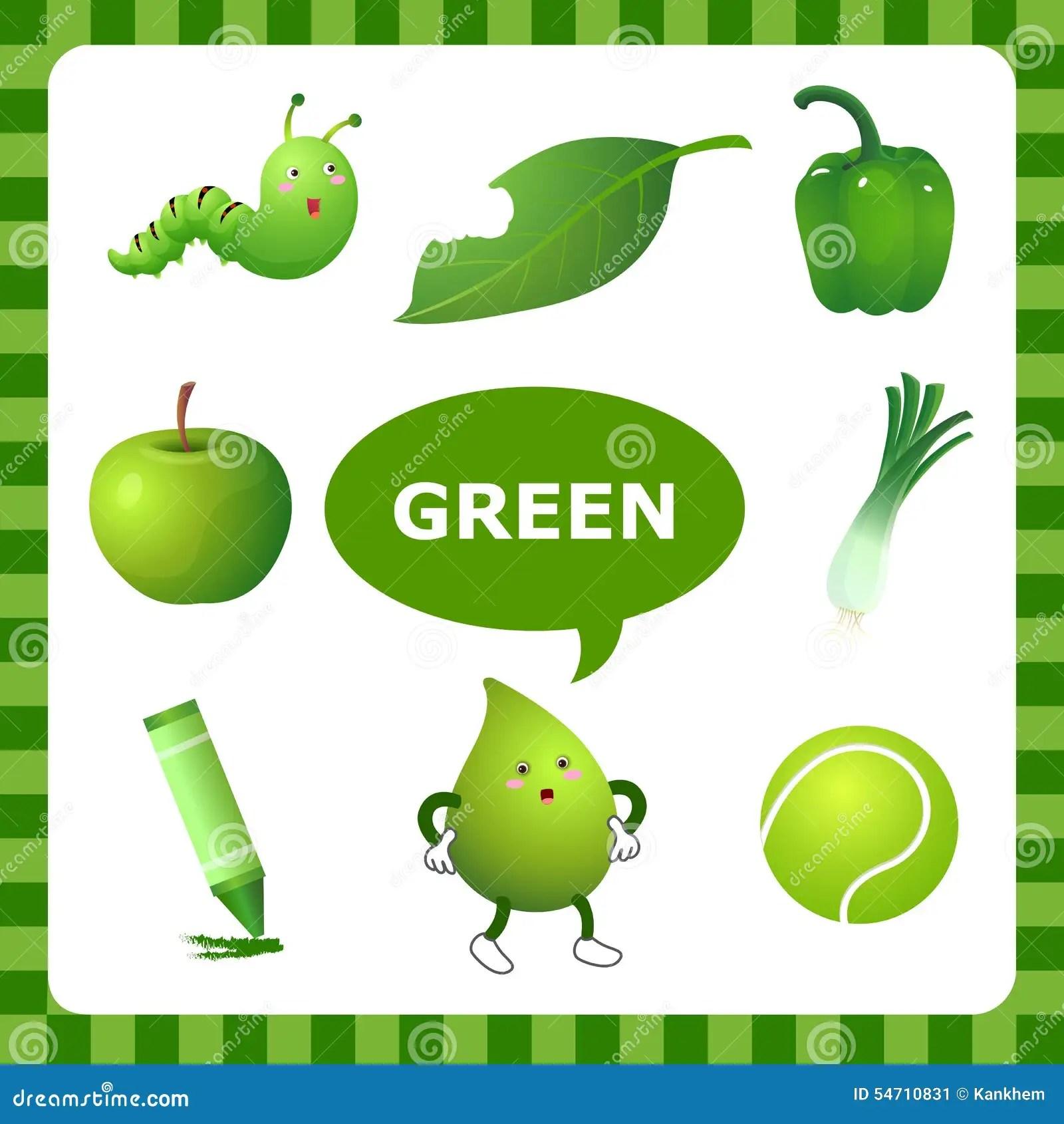 Aprendizaje De Color Verde Ilustracion Del Vector