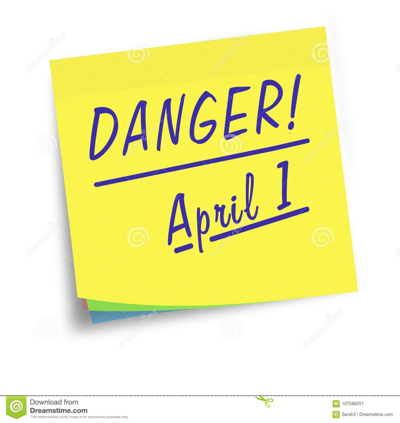 April Fools Day Sticky Note Reminder Warning Stock