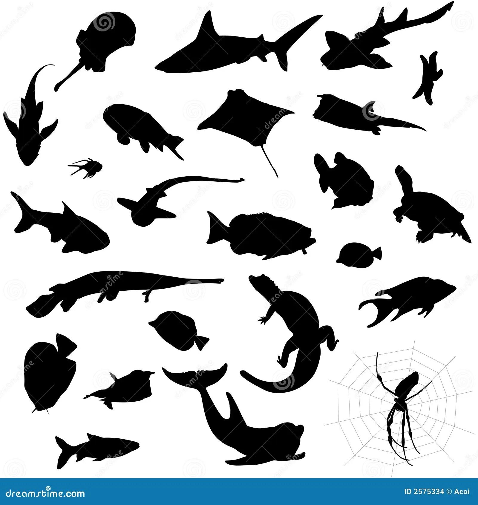 Aquarium Silhouettes Stock Vector Illustration Of River