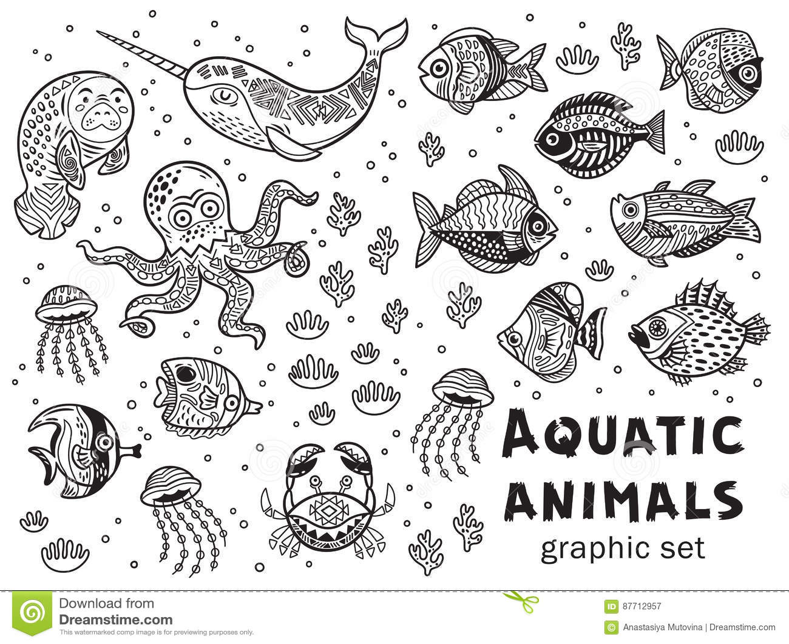 Aquatic Animals Vector Graphic Set Stock Vector