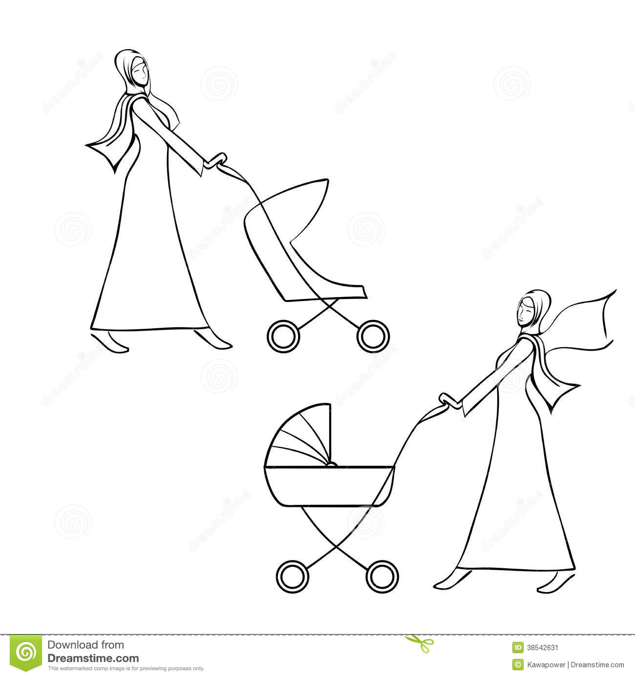 Lady Pushing Pram Vector Illustration