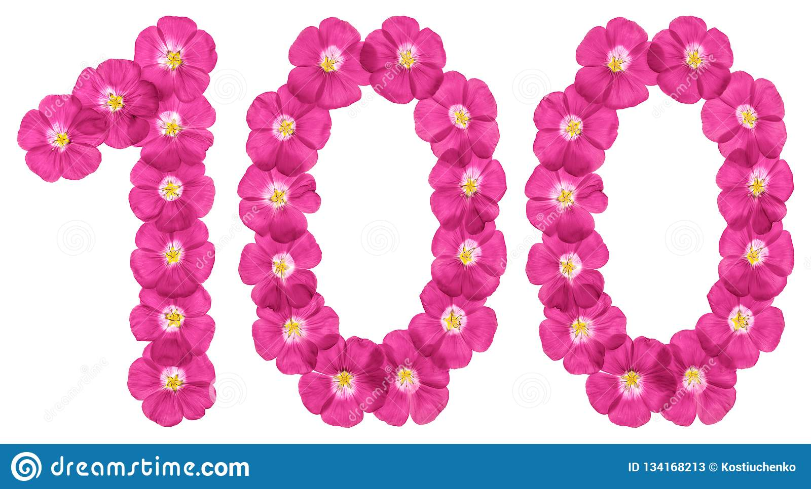 Arabic Numeral 100 One Hundred From Pink Flowers Of Flax