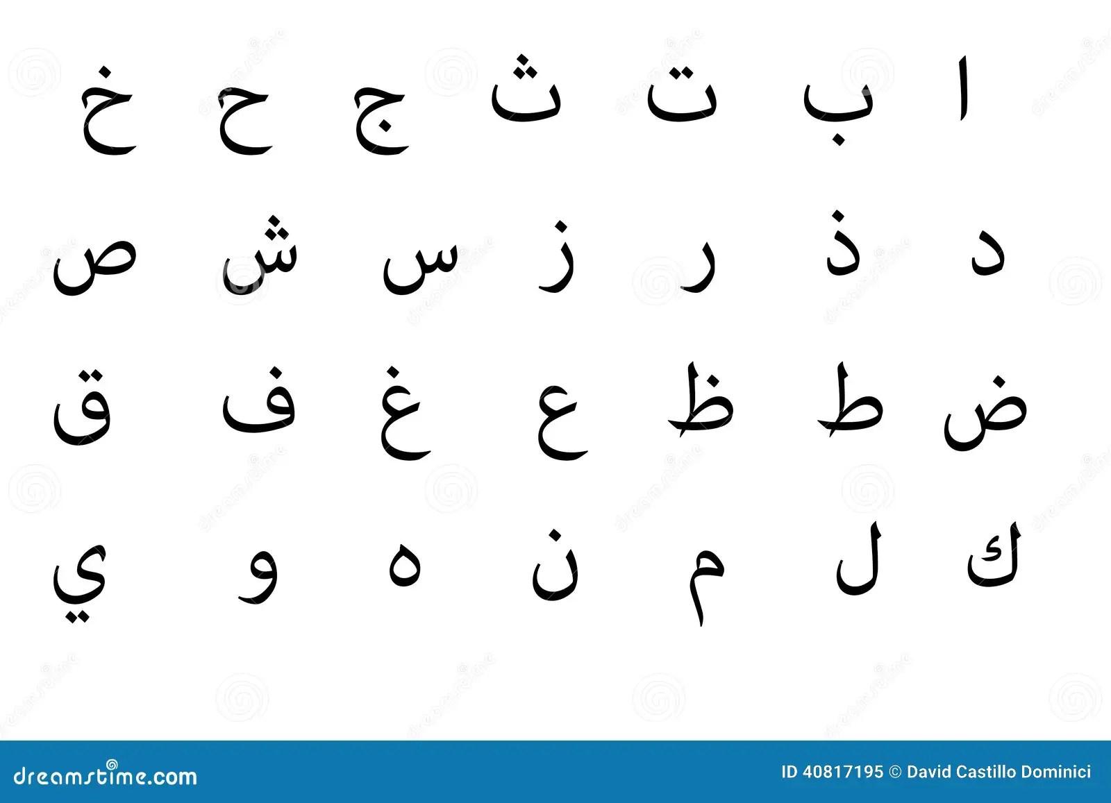 Arabiskt Alfabet Stock Illustrationer