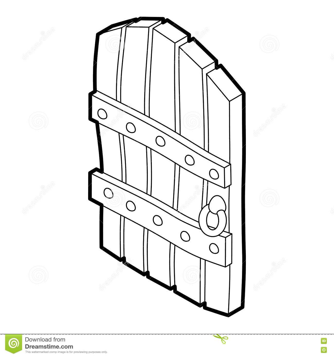 Arched Wooden Door Icon Outline Style Stock Vector