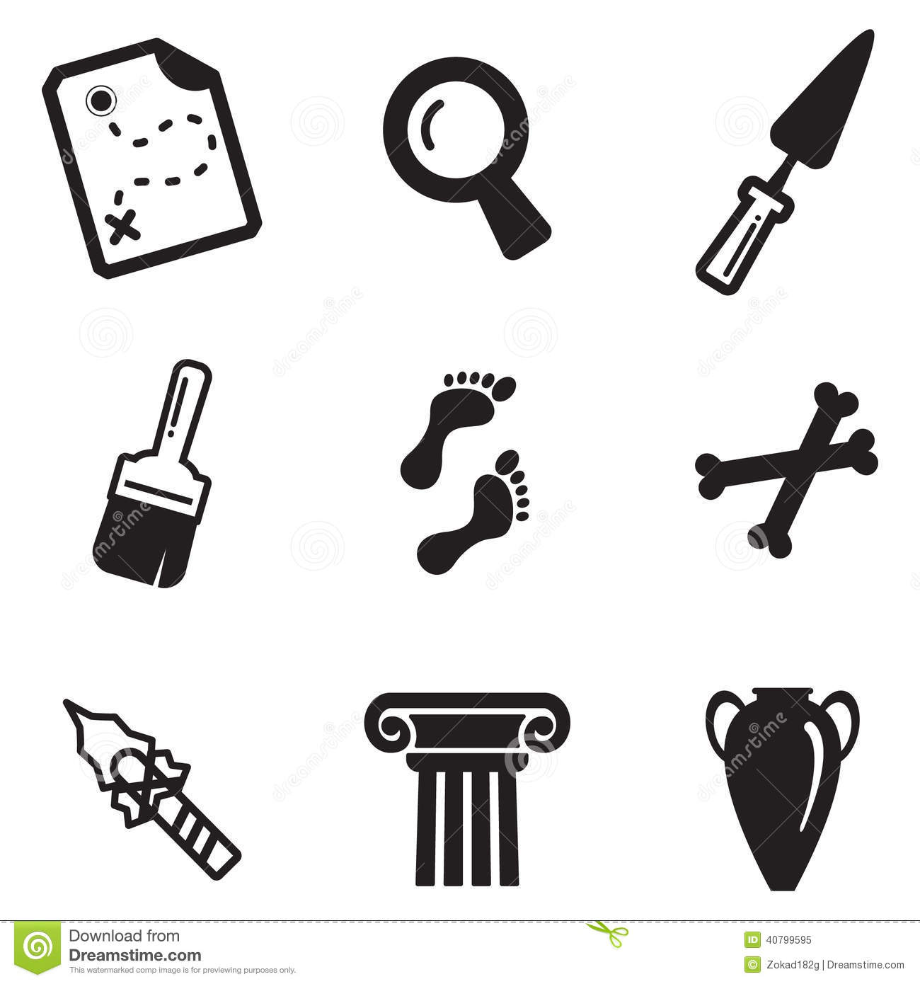 Archeology Icons Stock Vector Illustration Of Ancient