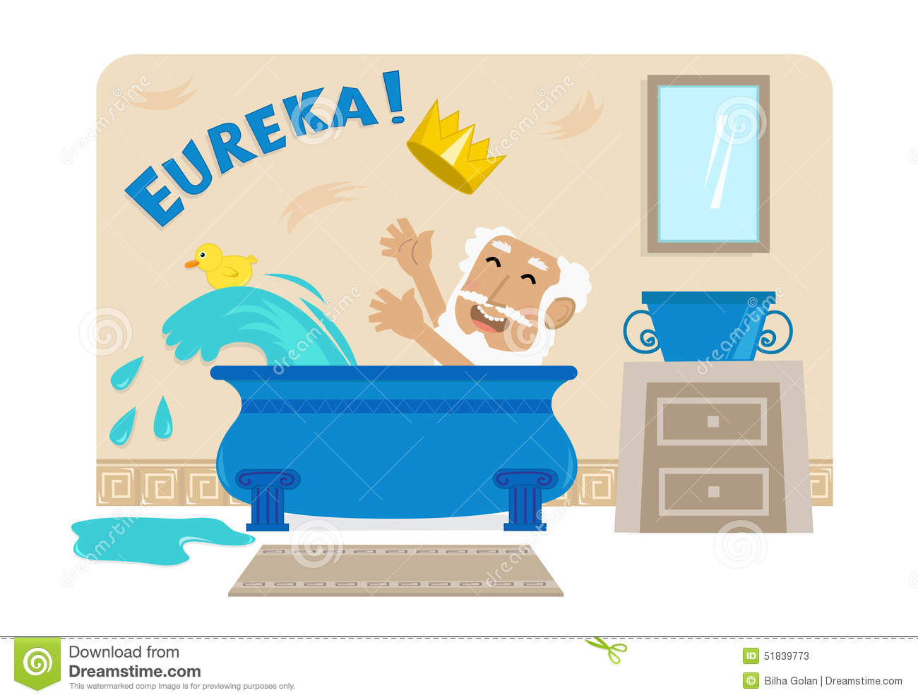 Archimedes In Bathtub Stock Vector Illustration Of