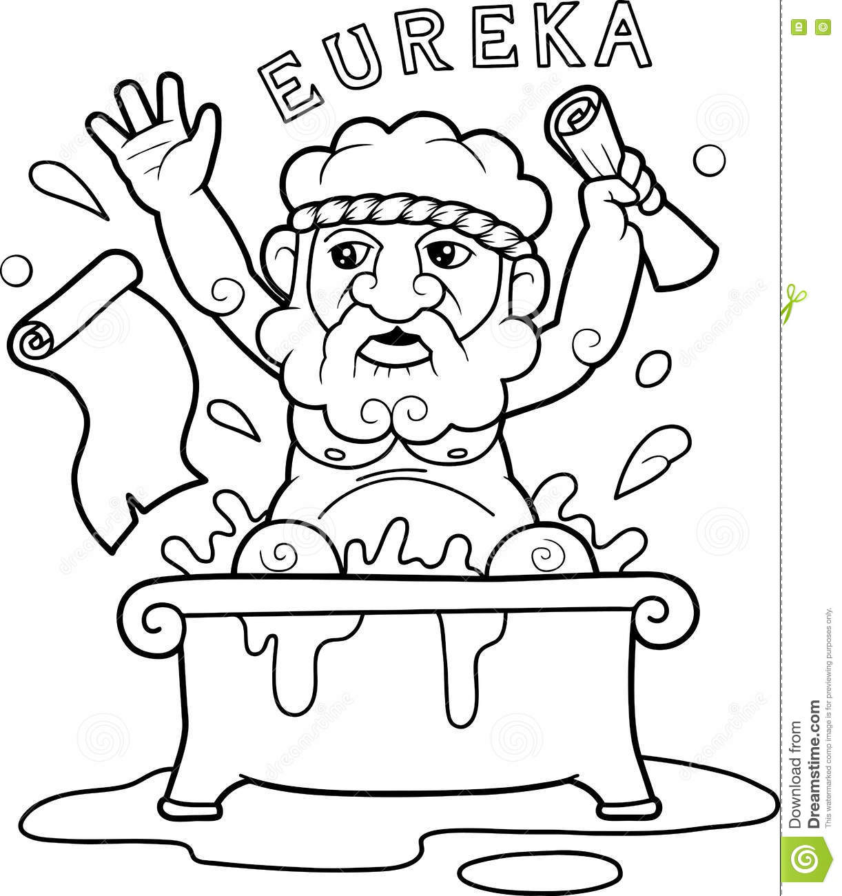 Archimedes Sitting In The Bath Stock Vector