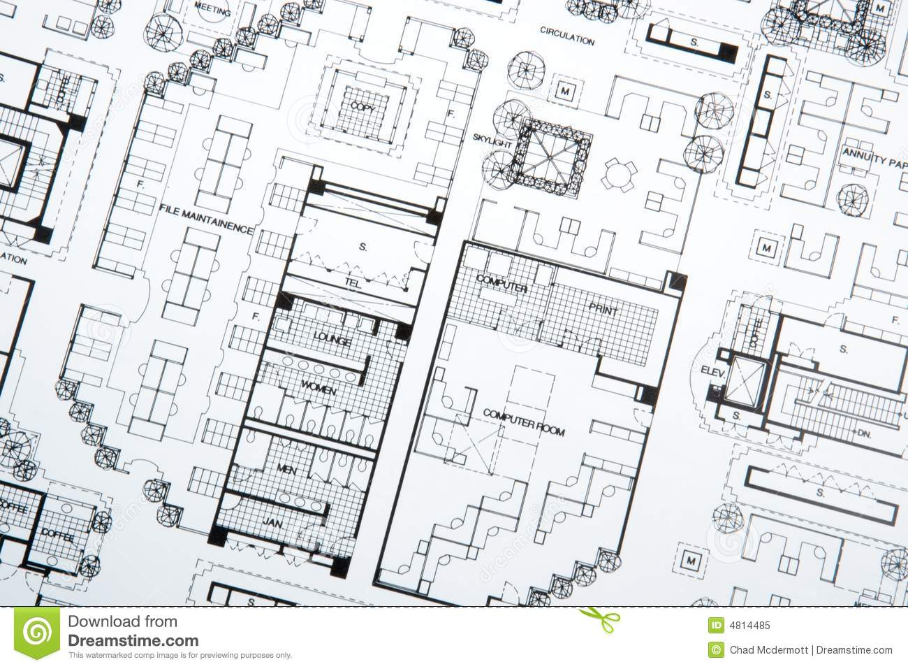Architect S Drawing And Plans Royalty Free Stock Photo