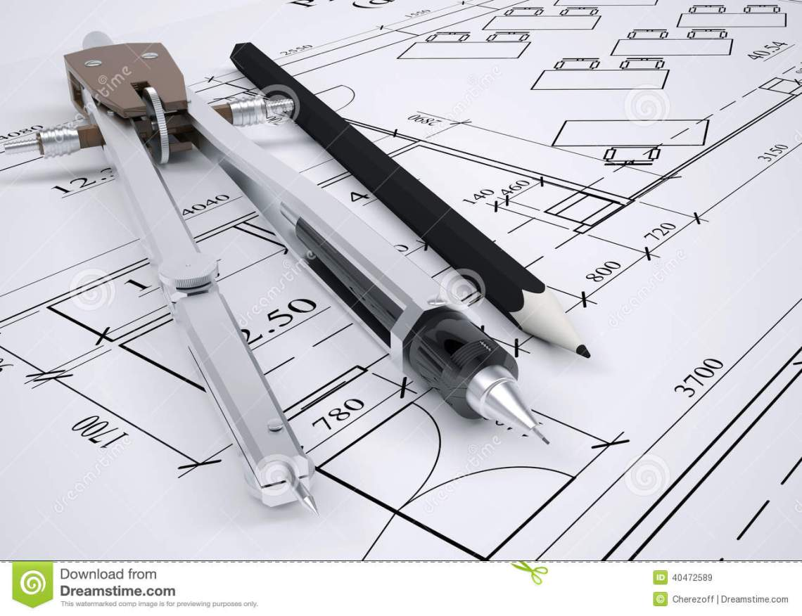 Architectural Drawing And Engineering Tools Stock Illustration Illustration Of Design Architecture 40472589