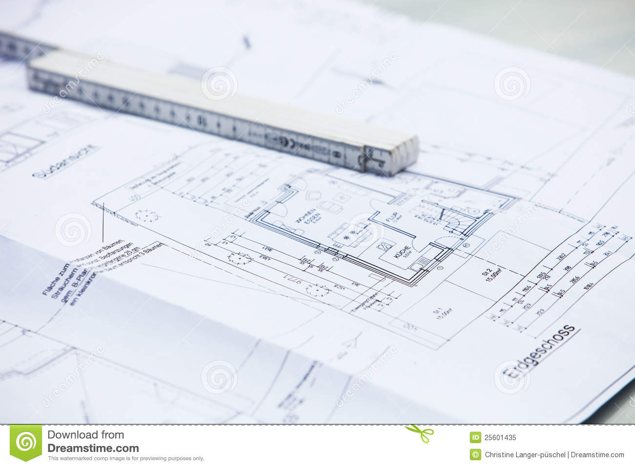 Architectural Drawings And Ruler Stock Image